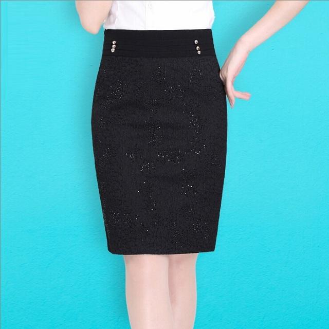 2015 mujeres del invierno del otoño faldas manga corta de punto Patchwork de cuero negro faldas hasta la rodilla recta faldas de encaje