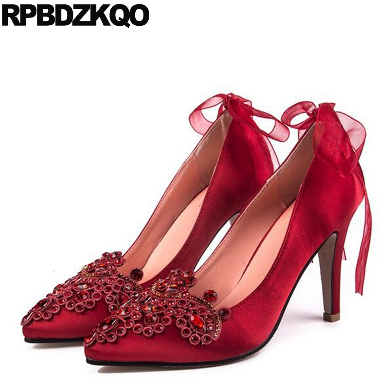 Bridal Red Ladies Satin Dress Shoes 10 42 Ribbon Women Bow High Heels Pumps  Big Size 12 44 Pointed Toe 33 Stiletto Strap d5ce11e85590