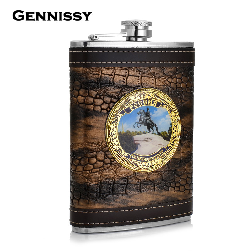 GENNISSY Portable Hip Flask For Outdoor Sports 9oz Stainless Steel Whisky Alcohol Flask Best Souvenir For