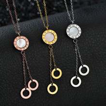 Eleple Roman Numeral Stainless Steel Tassel Round Necklace for Lady Jewelry Simple Fashion Rose Gold Silver Color Necklace S-N27 цена и фото