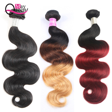 May Queen Hair Body Wave Ombre Hårpakker Brasilian Hair Wave Bundles Natural Black Color 1 Piece Deal kan kjøpe 3 eller 4 bunter