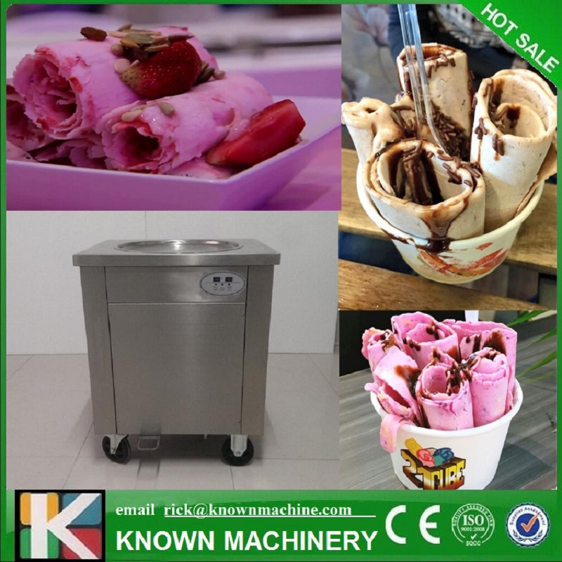 45cm air-cooling 304 Stainless steel Single Round Pan Thailand Style Fried Ice Cream Roll Machine with control panel45cm air-cooling 304 Stainless steel Single Round Pan Thailand Style Fried Ice Cream Roll Machine with control panel