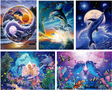 5D Diy Full Diamond Painting dolphin Pictures Cross Stitch kits Diamond Embroidery Crystals round Diamond Mosaic Landscape(China)