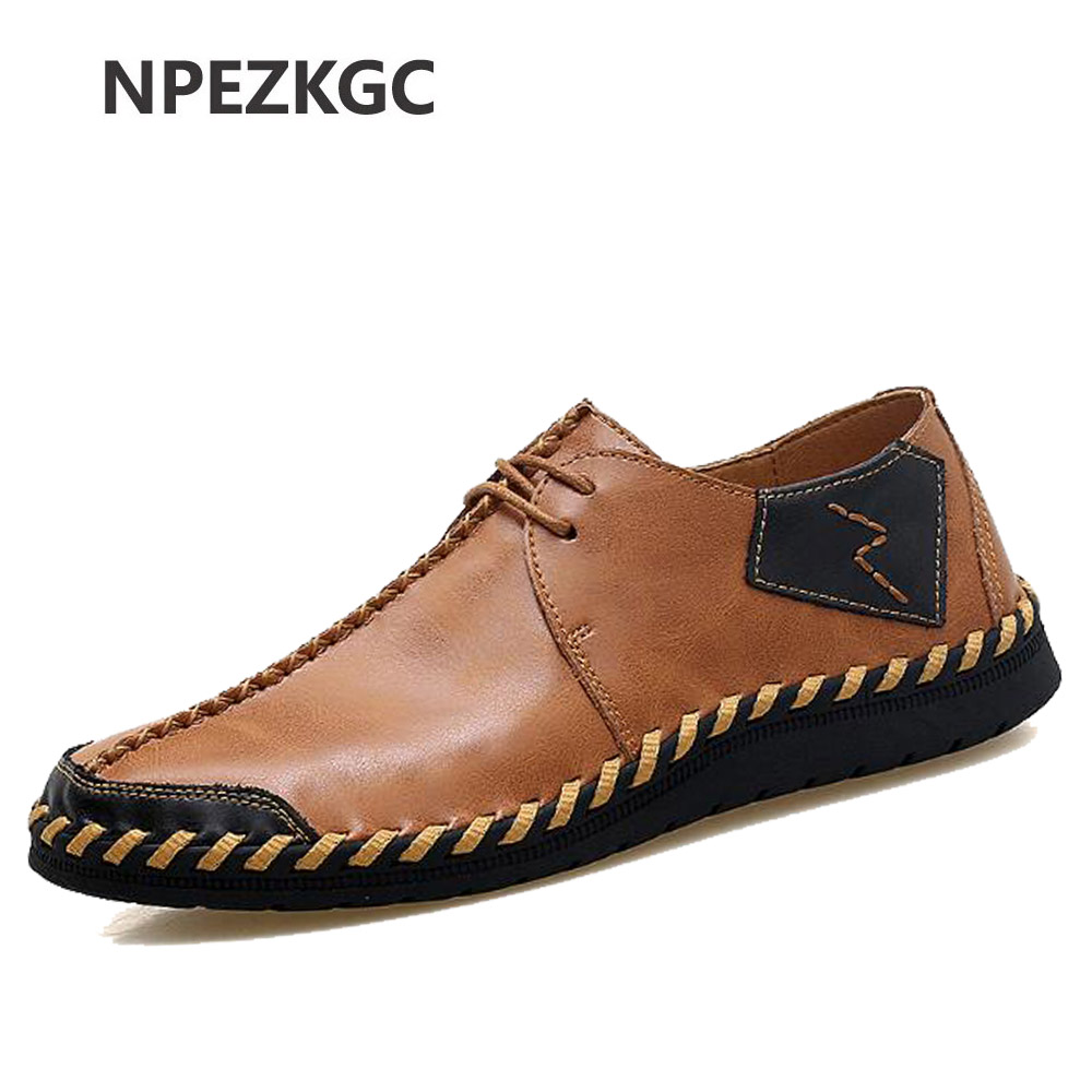 NPEZKGC Brand Fashion Breathable Shoes Cow Leather Shoes Lace Up Moccasins Flats Mens Casual Shoes Hot Sale Large Sizes 38-47 cimim brand new hot sale men flats shoes fashion mens shoes casual comfortable mens shoes large sizes 38 48 superstar zapatos