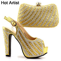 Hot Artist Fashion African Shoe And Bag Set For Party Italian Shoe With Matching Bag New