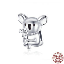 925 sterling silver cute koala beads fit charm Pandora original bracelet & necklace jewelry DIY making gift(China)