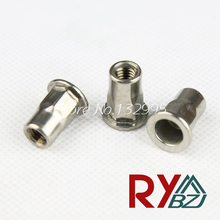 M4 M5 M6 M8 M10  SUS 304 Rivet Nut Stainless Steel A2 Flat head  hex rivet nut Insert nut Blind rivet SSHFH003