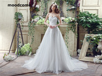 2018 Vintage A Line Wedding Dresses Tulle Lace Up Shining Crystal Beading Sweetheart Sweep Train Custom