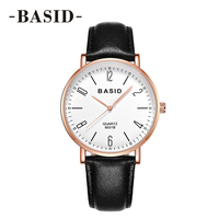 BASID Women Watches Top Luxury Brand Rose Gold Case Black White Dial Genuine Leather Clock Casual Watch Men's Quartz Wrist Watch