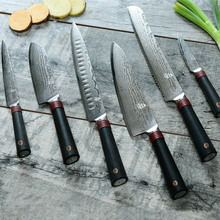 TUOBITUO 6pcs/set 8inch Chef Knife kit with 9inch Bread Knife Japanese VG10 Damascus Steel Slicing Knives Multi Kitchen Tools
