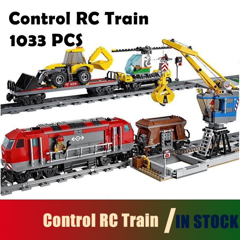 Compatible with Lego City Model building blocks 60098 02009 Engineering Remote Control RC Train Figure Bricks toys for children