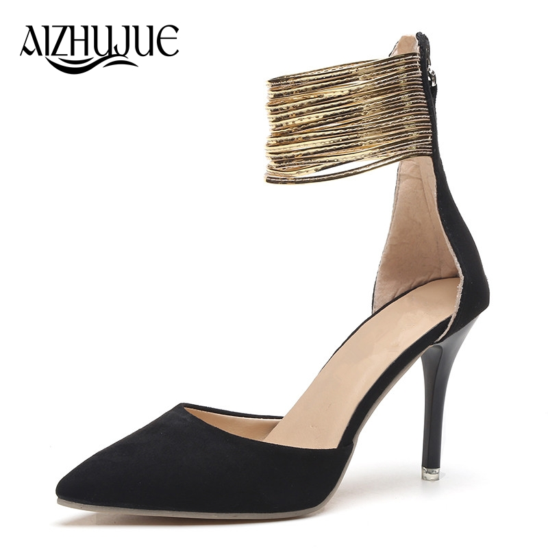 Women Pumps High Heels Sexy Ankle Strap Mary Janes OL Shoes Woman Pointed Toe Zapatos Mujer Ladies Metal Feeling Wedding Shoes new fashion thick heels woman shoes pointed toe shallow mouth ankle strap thick heels pumps velvet mary janes shoes