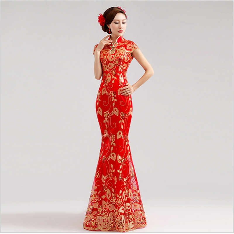 73dee7cd2a3 ... Red Women vintage Cheongsam Sexy Qipao lace fishtail long dress Party gown  Chinese style evening dresses ...