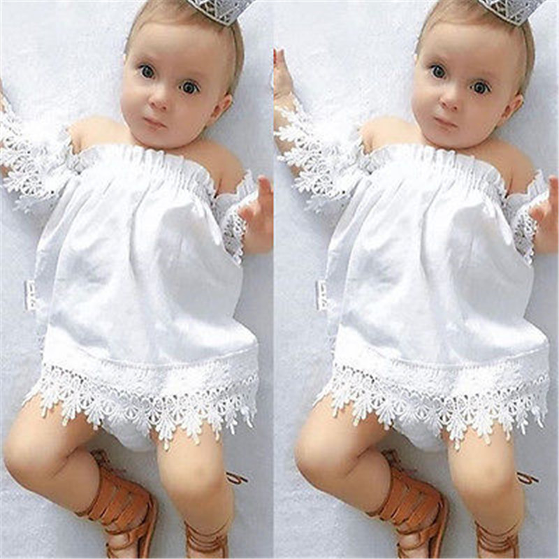 Baby Girl Off Shoulder White Dress Casual Kids Baby Girl Princess Party Lace Strapless Boob Tube -5884