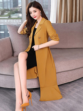 2019 Spring New Windbreaker Womens Fashion Slim Solid Color Suit Collar Long Sleeve Ruffled Coat