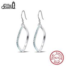 Effie Queen Silver 925 Dangle Earrings For Women Square Shape 4A CZ Black Red Stone Drop Earing Sterling Jewelry BE158