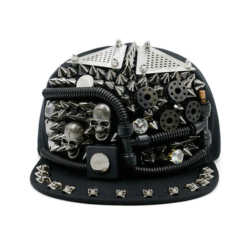 Janvancy Hip Hop Caps Men Women Steampunk Baseball Caps Shows Luxury Design Flat Bone Snapbacks Punk Hiphop Novelty