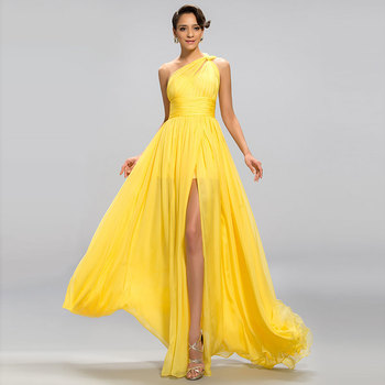 Tanpell Yellow Evening Dress One-Shoulder Pleats Ruffles Split-Front Woman Party Gown Floor Length Long Evening Dress