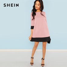 Pink Office Lady Contrast Trim Tunic