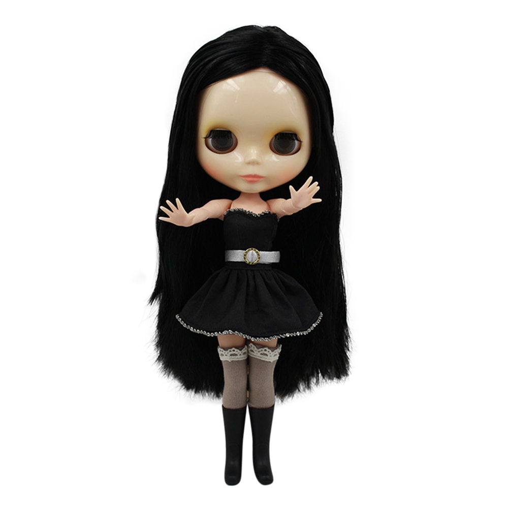 blyth doll normal body black without Bangs long hair 230BL117 factory blyth girl doll Child gift