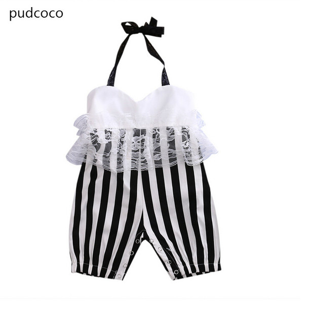 b75ab4042dfc Newborn Baby Girl Lace White Black Striped Rompers Clothes Summer Infant  Girls backless Halter Jumpsuit Outfit Sunsuit Clothing