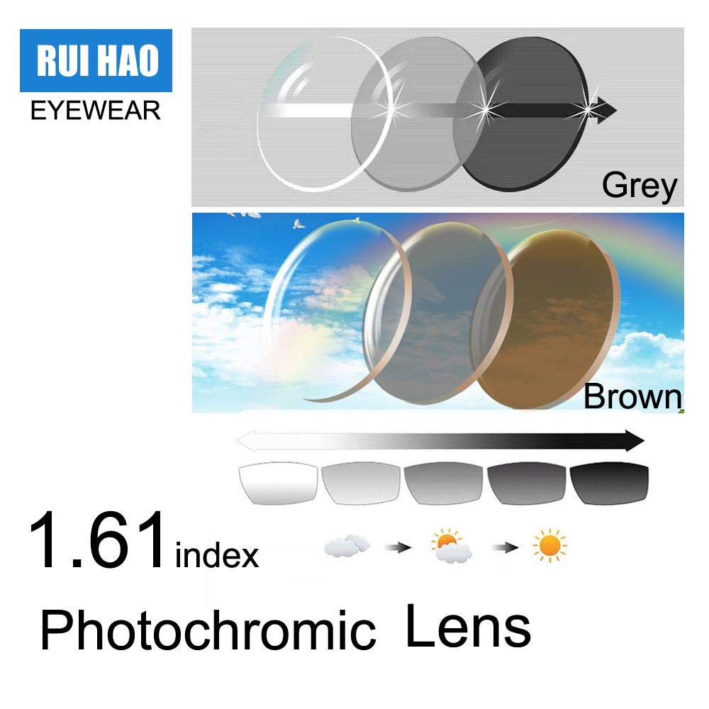 1 61 Index Photochromic Lens Grey or Brown Sunglasses Unsex Lens Optical Glasses Reading Eyeglasses Ultra