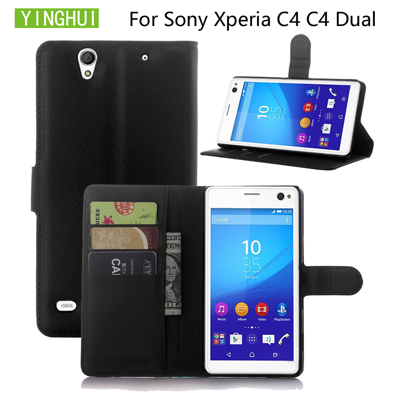 YINGHUI Leather Case For Sony Xperia C4 Protective Cover Classic Style Flip Wallet Phone Cases Coque For Sony Xperia C4 Dual