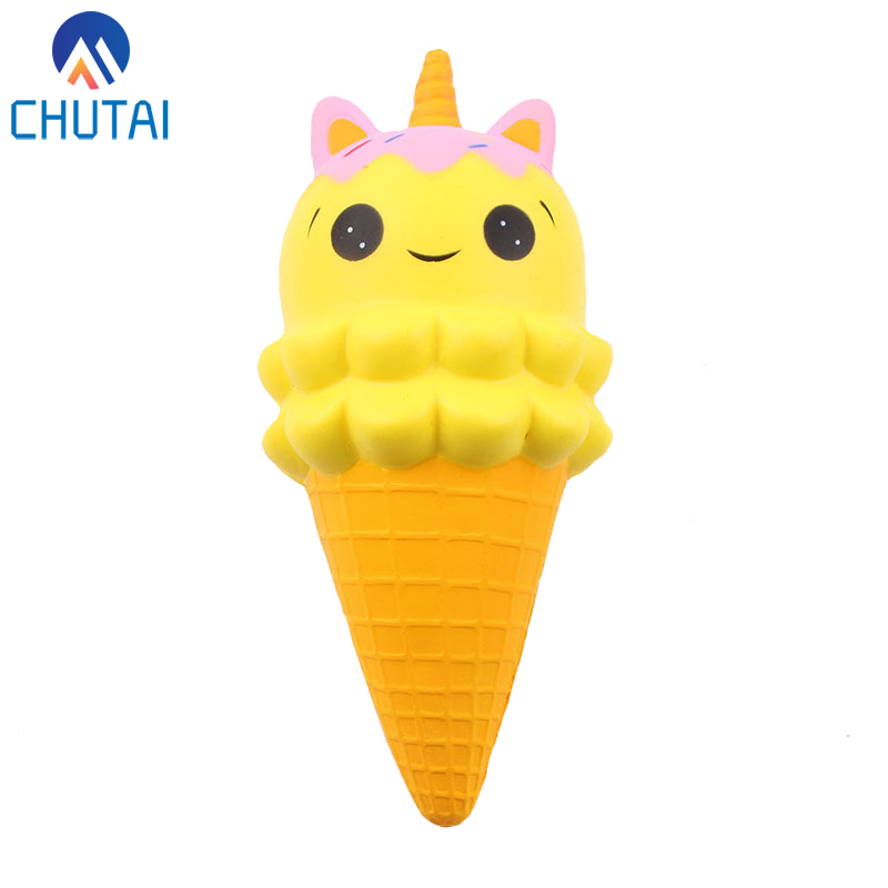 Cartoon Double Smiley Face Ice Cream Unicorn Squishy Slow Rising Food Rebound Bread Kid Adult Stress Relief Squeeze Toys 20*10CM