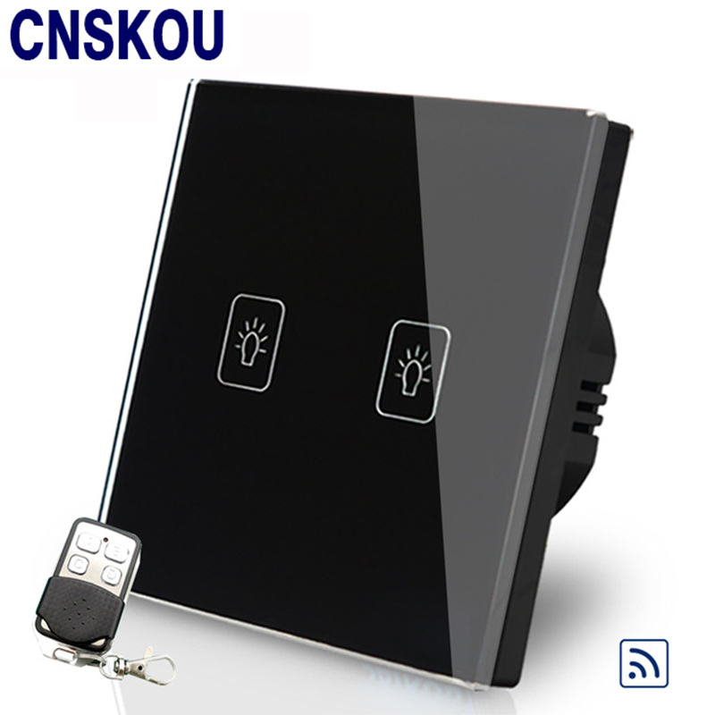 Cnskou EU Standard 2Gang 110V-220V Remote Touch Switch For LED Lamp Wireless Remote Control Wall Light Touch Switch Factory cnskou us standard 2gang smart remote touch switch wall light switch control for led lamp white crystal glass panel manufacturer