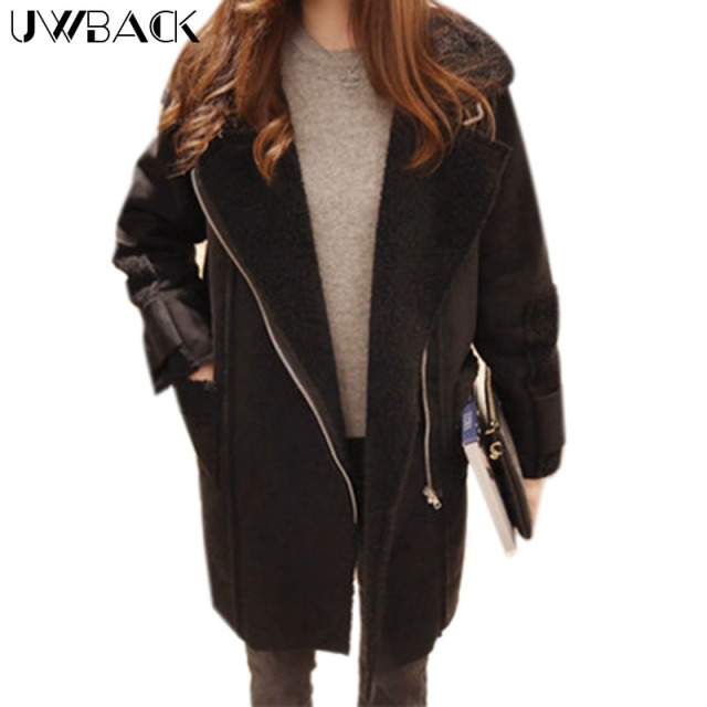 Uwback 2016 New Brand  Winter Basic Coats Women Long Cotton Padded Overcoats Femme Turn Down Collar OB127