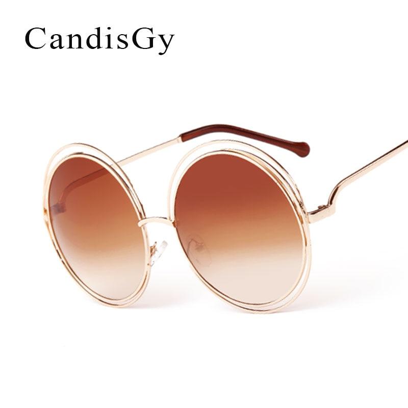 CandisGY Ronde Femmes lunettes de Soleil Lady Marque De Mode Desinger  Miroir Soleil Lunettes Femelle Chaude Grande Taille YF24 ae1891a4b0a4