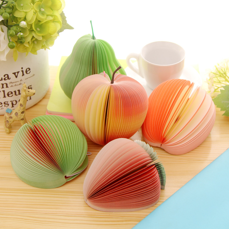 1 PCS Creative Fruit Note Memo Pads Portable Scratch Paper Notepads Post Sticky Apple Watermelon Peach Pear Strawberry Shape 140 page note paper creative fruit design