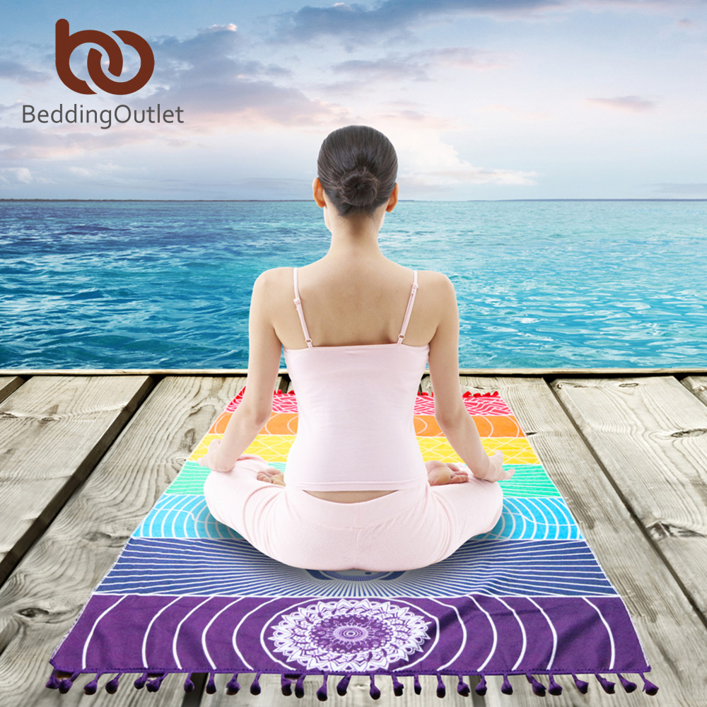 BeddingOutlet 7 Chakra Rainbow Stripes Serviette De Plage Pour Adultes Mandala Couverture Microfibre Rectangle Bohème Tapisserie Tapis De Yoga