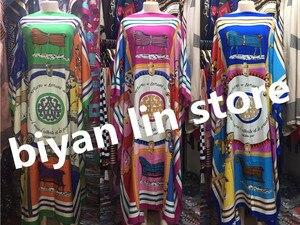 Image 3 - Длина платья: 130 см, обхват груди: 130 см, новинка 2018, модные платья, женская длинная блуза с принтом Дашики, цветной узор Yomadou, большие размеры