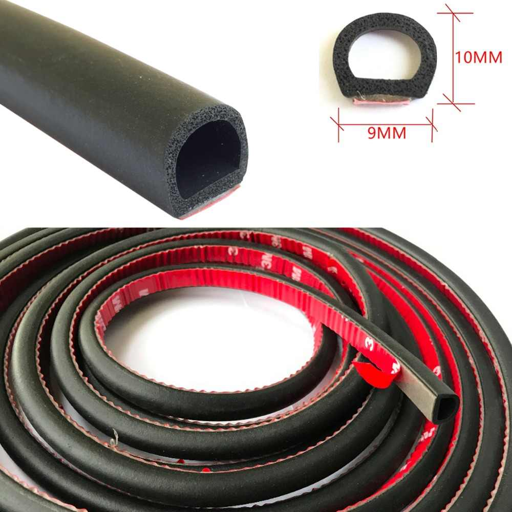 9mmx10mm Small D Car Door Seal Rubber Waterproof Sound Insulation Shock Absorption Auto Sealant Strip for Door Tail Cover