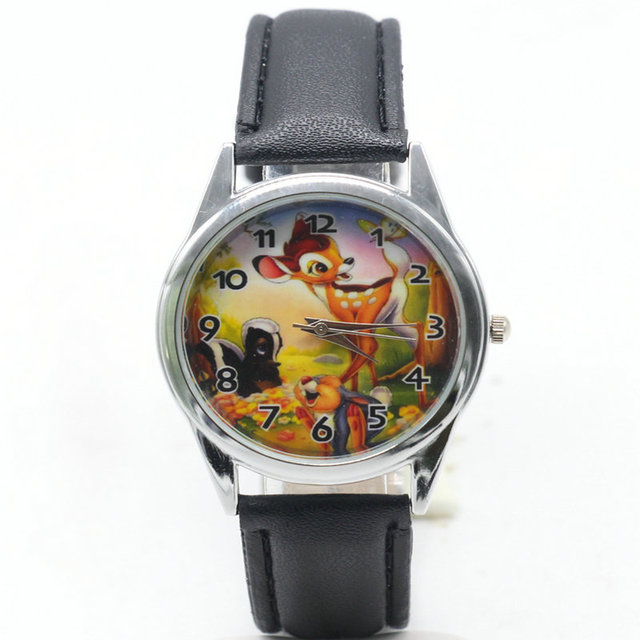 2018 hot selling children cute dial quartz watch bambi Cartoon Birthday Party Gi