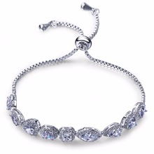 Limtied edition Unique design Artificial jewellery Classic Geometric shape Prong Setting AAA Cubic Zirconia CC bracelets charm
