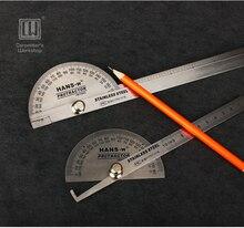 Total 200/360mm Acero Inoxidable Goniómetro Medidor de Ángulo de Medición de Herramientas de Diseño Conjunto Cuadrado