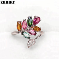 Free Shipping Tourmaline Ring Multicolored Real 925 Sterling Silver 100 Natural Gemstone Wedding Engagement ZHIRY BRAND