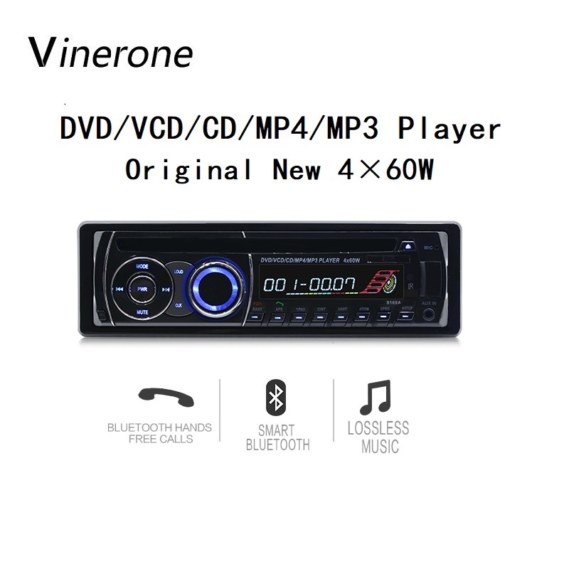 Vinerone Original Car Radio CD Player 4x60W DVD MP3 Player Bluetooth FM AUX SD USB 1 Din Auto Radio Autoradio 1din Car Audio