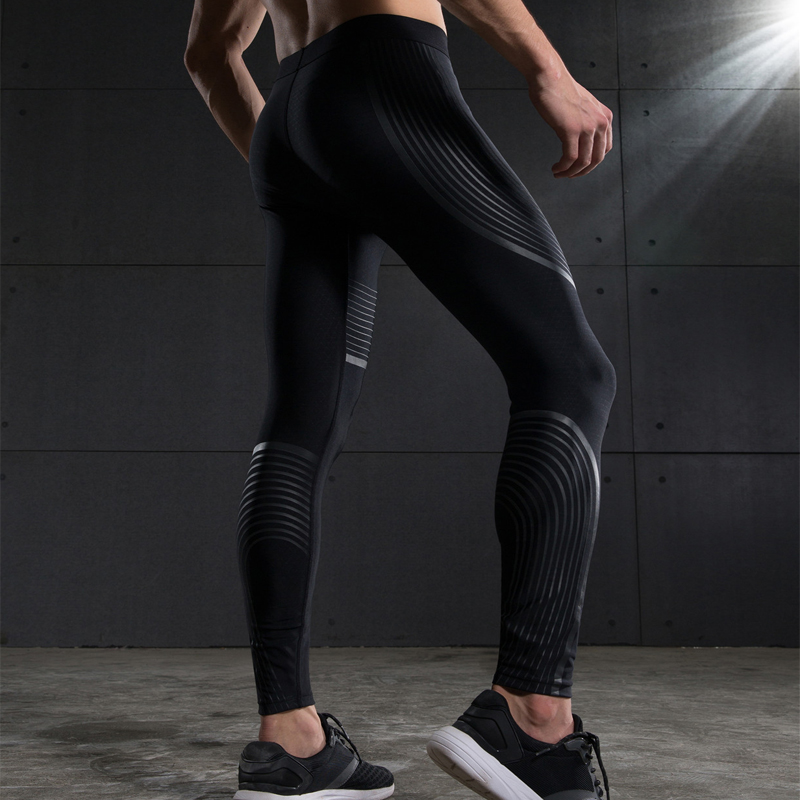 Men Compression Pants Base Layers Striped Leggings Mid Waist Elastic Joggers Pencil Pants Mens Clothing