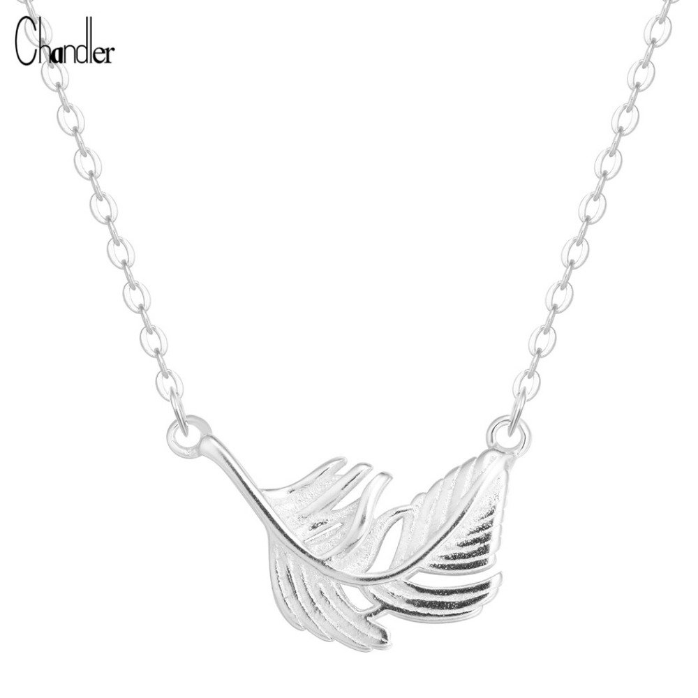 Qiandi Store 925 Sterling Silver Feather Necklaces  Pendants For Women Simple Charm Hypoallergenic  Long Chain Statement Colier 2017 Jewelry