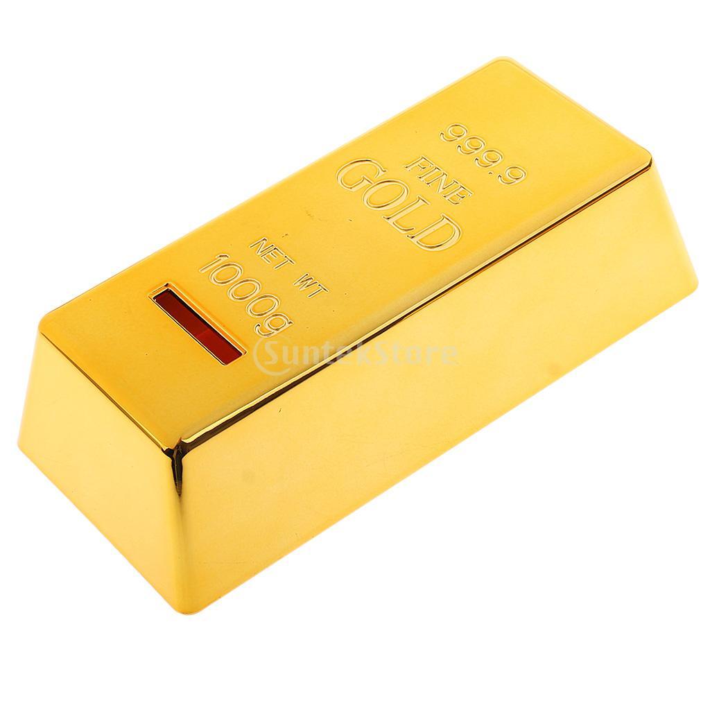 ABS Plastic Piggy Bank Fake Gold Bullion Brick Coin Case Money Box for Kids Gifts