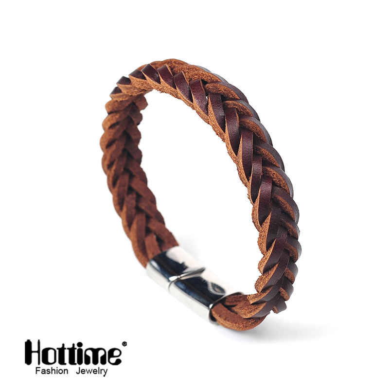 Hottime 2 Color Titanium Steel Multilayer Braided Leather Bracelets Men Bangle Men Jewelry Genuine leather Bangles For Mens PG41|bangles kids|bangle jade|bangle bracelet holder stand - title=