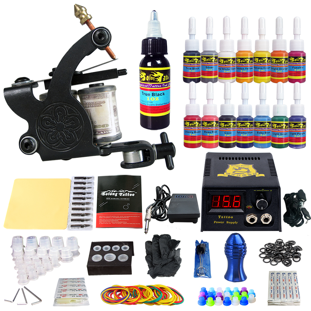 купить Stigma 2018 New Tattoo Machine Kit with 1 Tattoo Coil Gun Machine 14 Ink Sets Power Supply Needle Pedal Tips Beginner TK102 по цене 3399.2 рублей