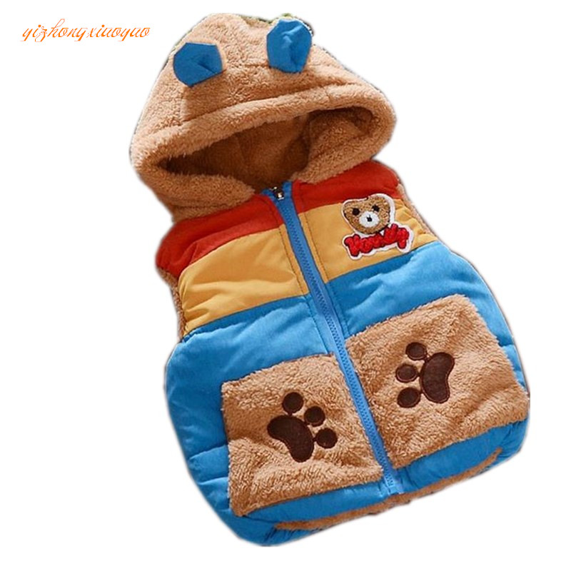 2017 New Baby Boys Girls Winter Coat Kids Warm Vest Children thicken Outerwear Jacket fashion cartoon hooded 3 Colors 2018 winter children boys parka jacket kids thicken warm 90% cotton camouflage hooded coat baby boys girls casual outerwear