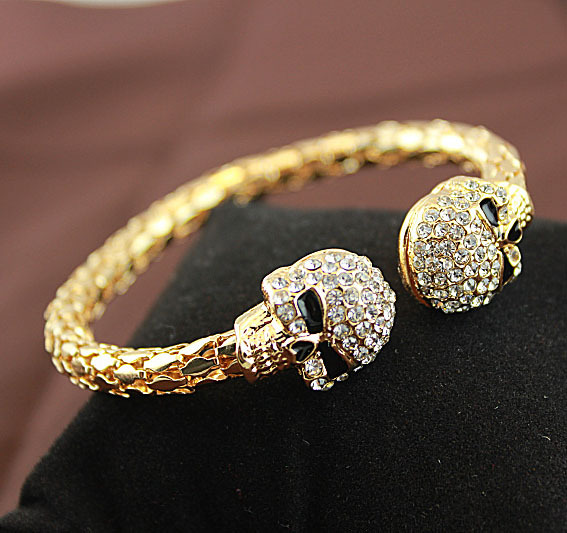 Popular Charm Bracelets 2: Vintage Gold Colou Bangle Jewelry Skull With Rhinestone