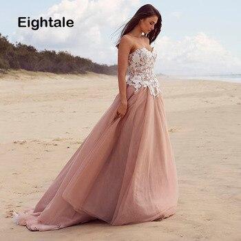 Eightale Pink Wedding Dress Beach Sweetheart Appliques Lace Long Boho Wedding Gowns Tulle Princess Open Back Bride Dress 2019