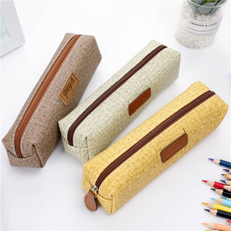School Office Pen Bag Box Cute PU Leather Small Pencil Cases School Student Supplies Lapis Stationery Storage Korean Bag 05160