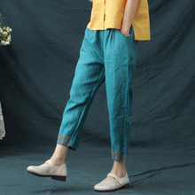 Women Autumn Summer Vintage Harem Capris Pants Cotton Linen Elastic Waist Floral Embroidery Calf-Length